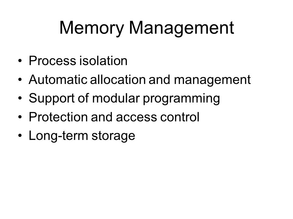Memory Management Process isolation
