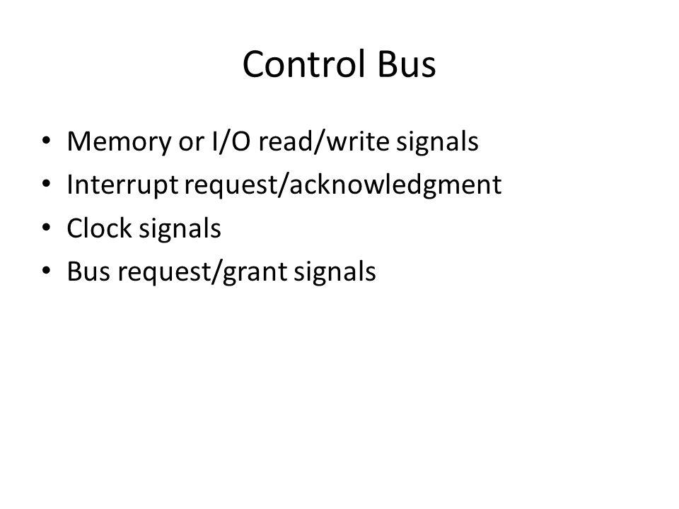 Control Bus Memory or I/O read/write signals
