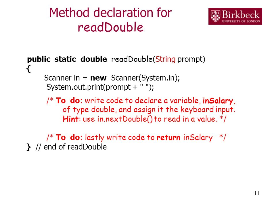 Method declaration for readDouble