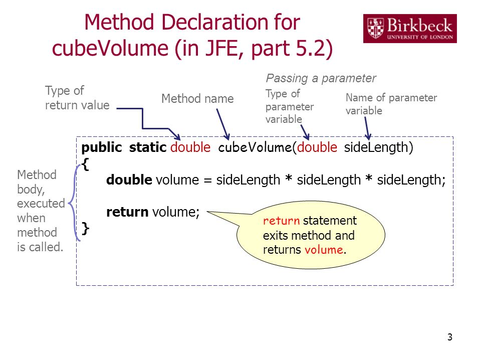 Method Declaration for cubeVolume (in JFE, part 5.2)