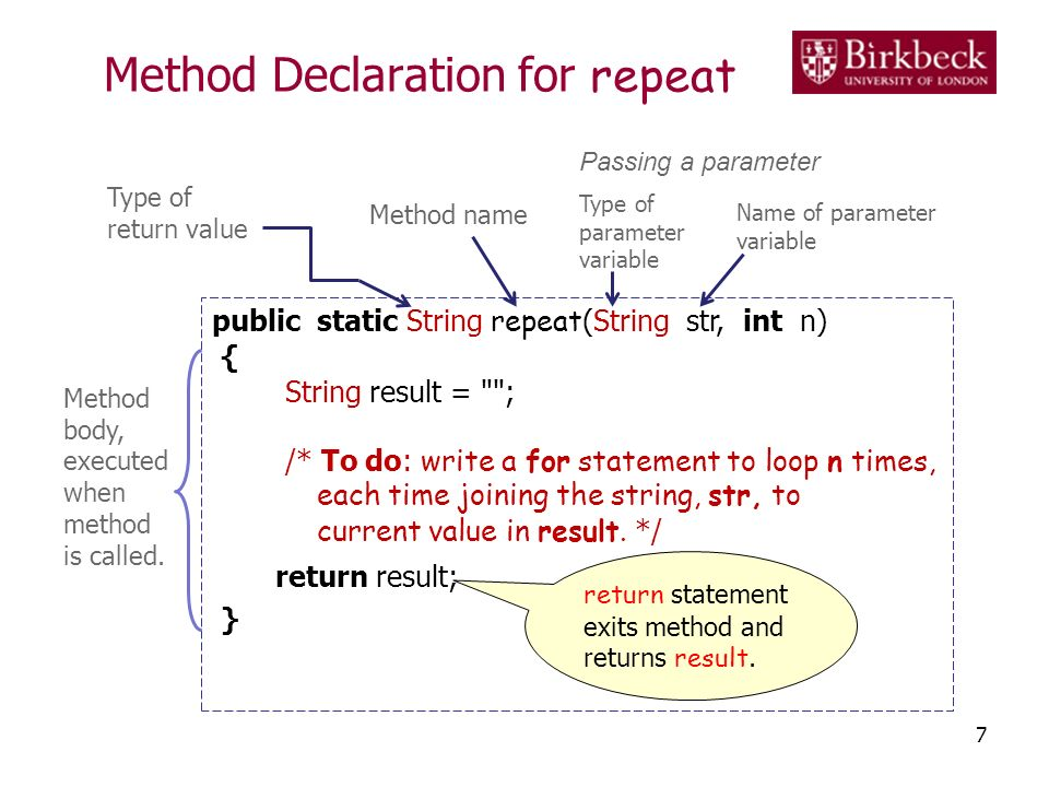 Method Declaration for repeat