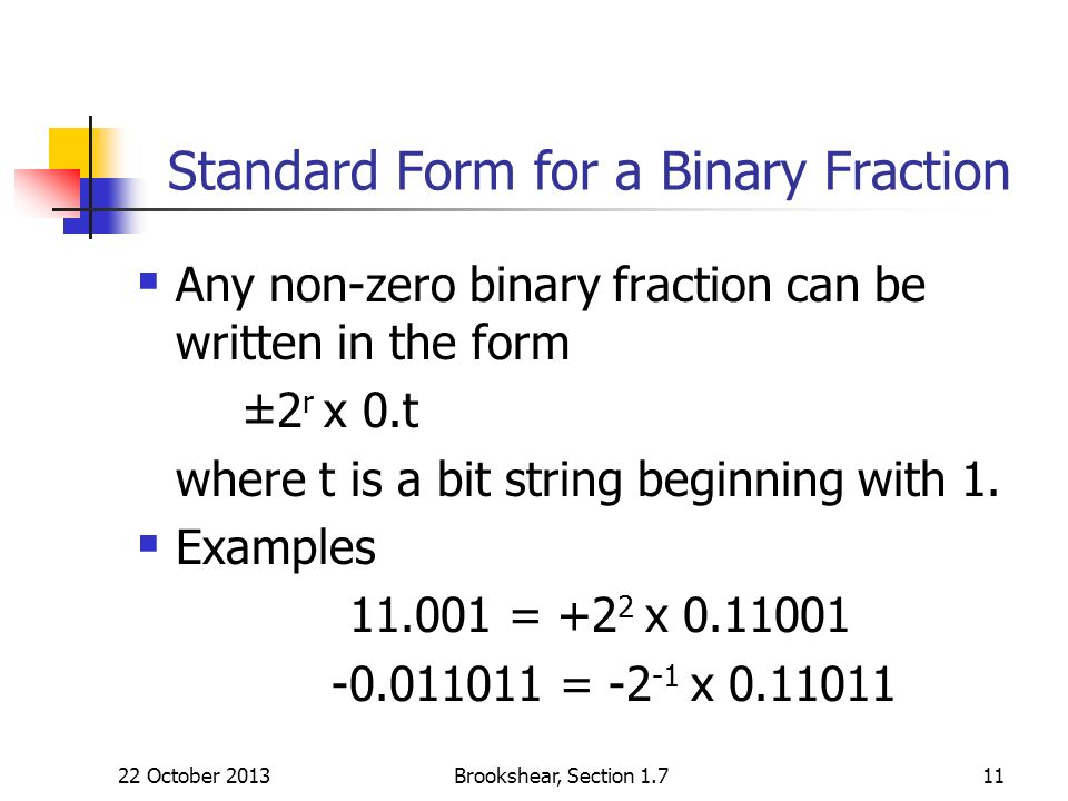 Standard Form for a Binary Fraction