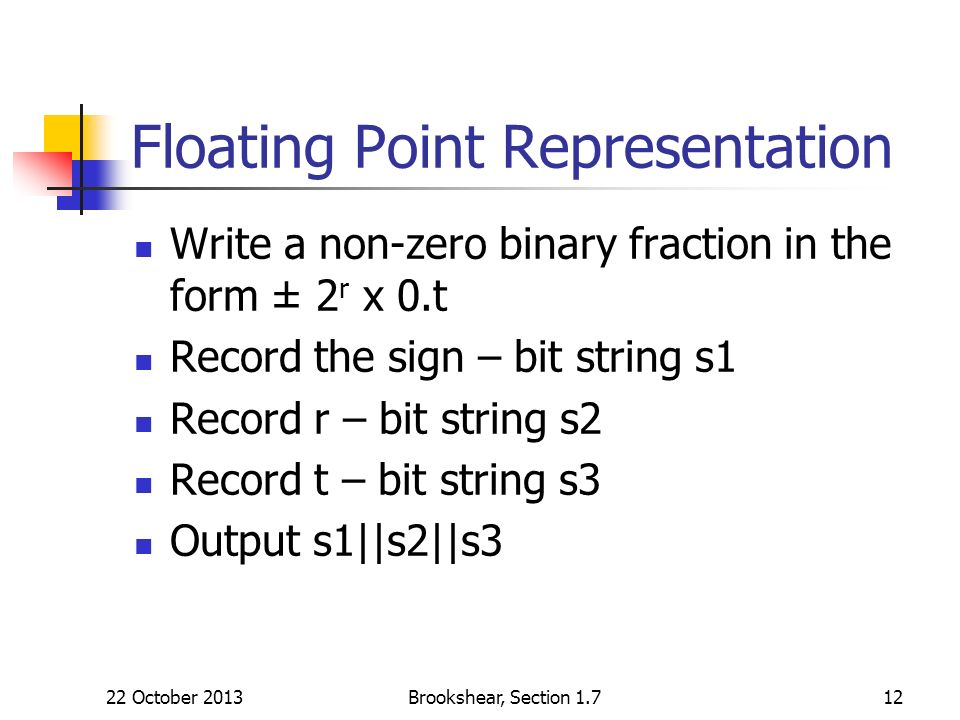 Floating Point Representation