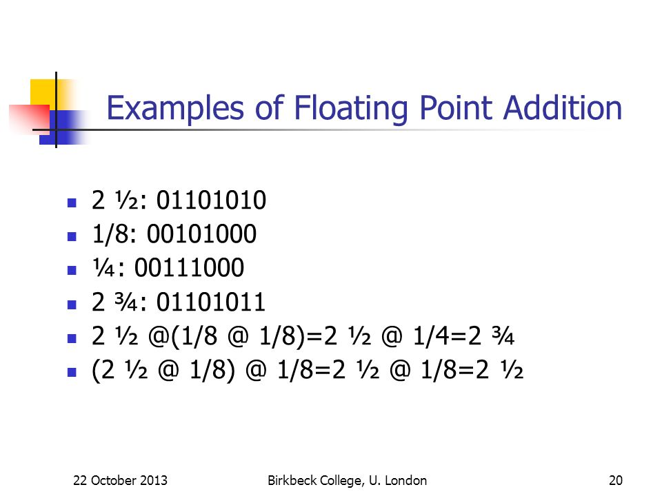 Examples of Floating Point Addition