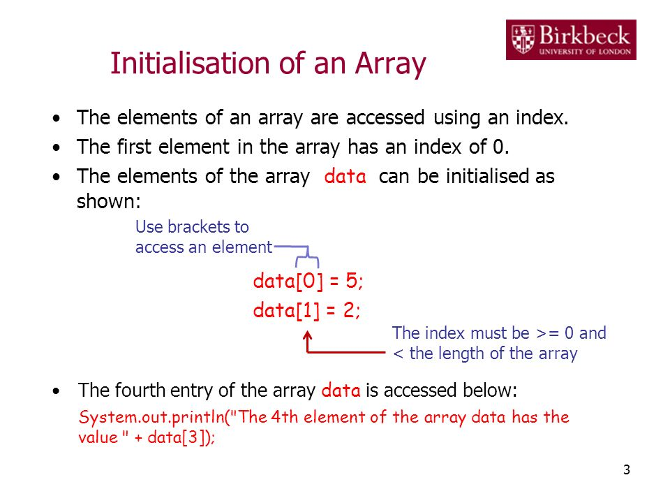 Initialisation of an Array