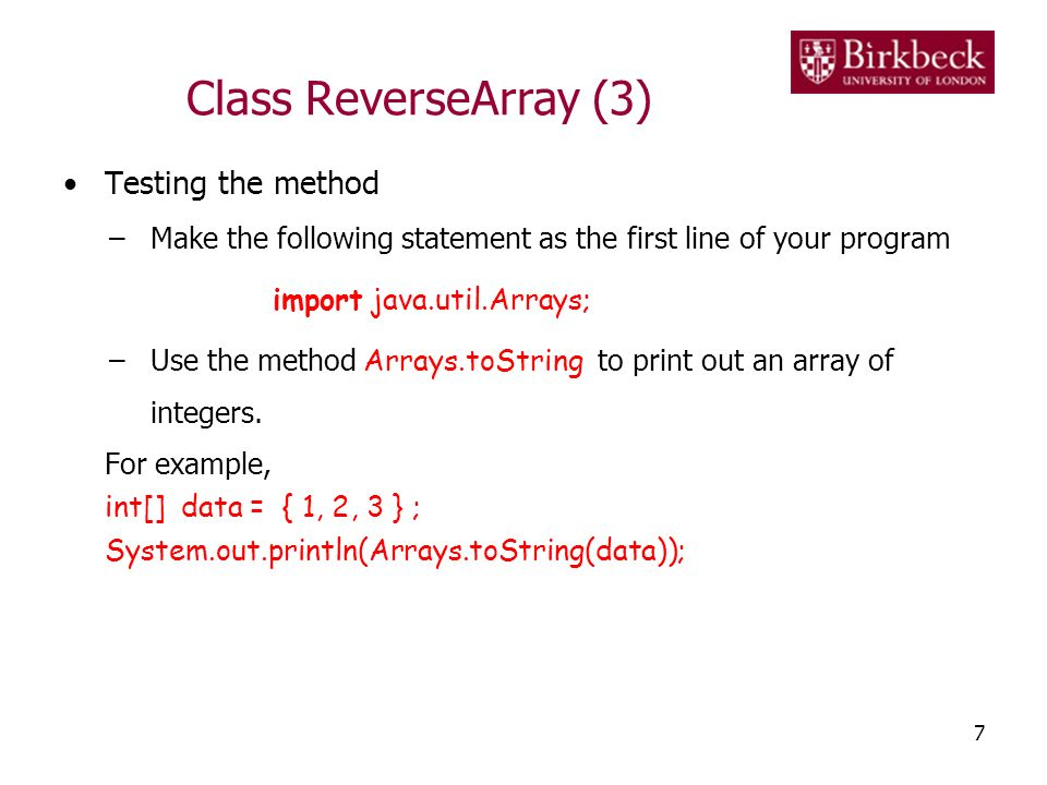 Class ReverseArray (3) Testing the method