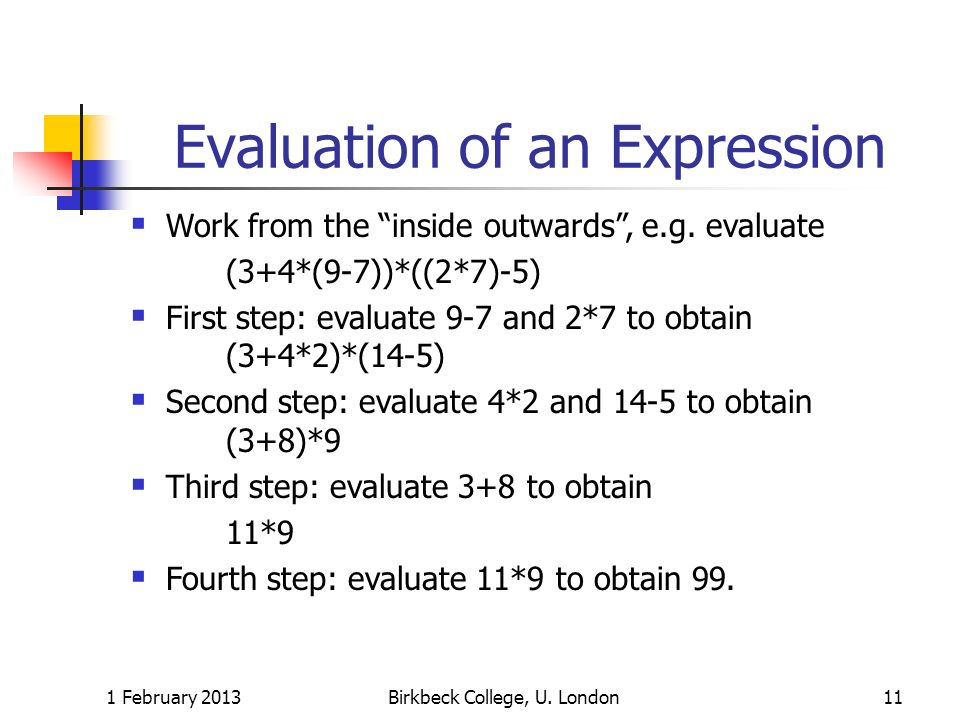 Evaluation of an Expression