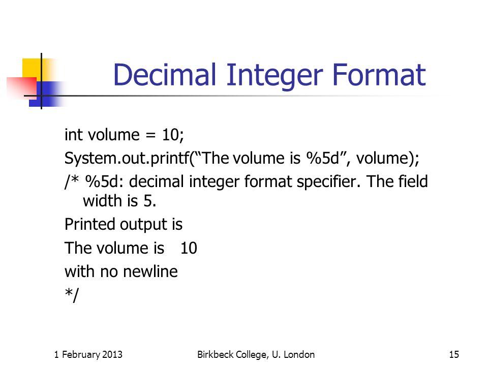 Decimal Integer Format