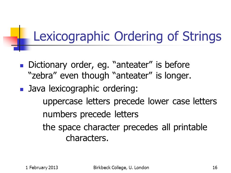 Lexicographic Ordering of Strings