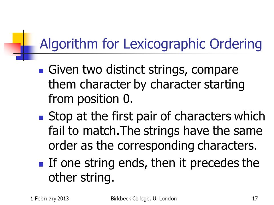 Algorithm for Lexicographic Ordering