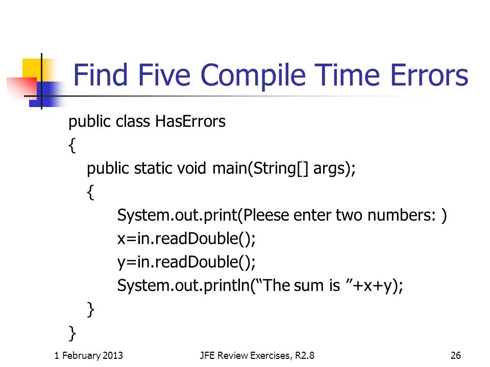 Find Five Compile Time Errors