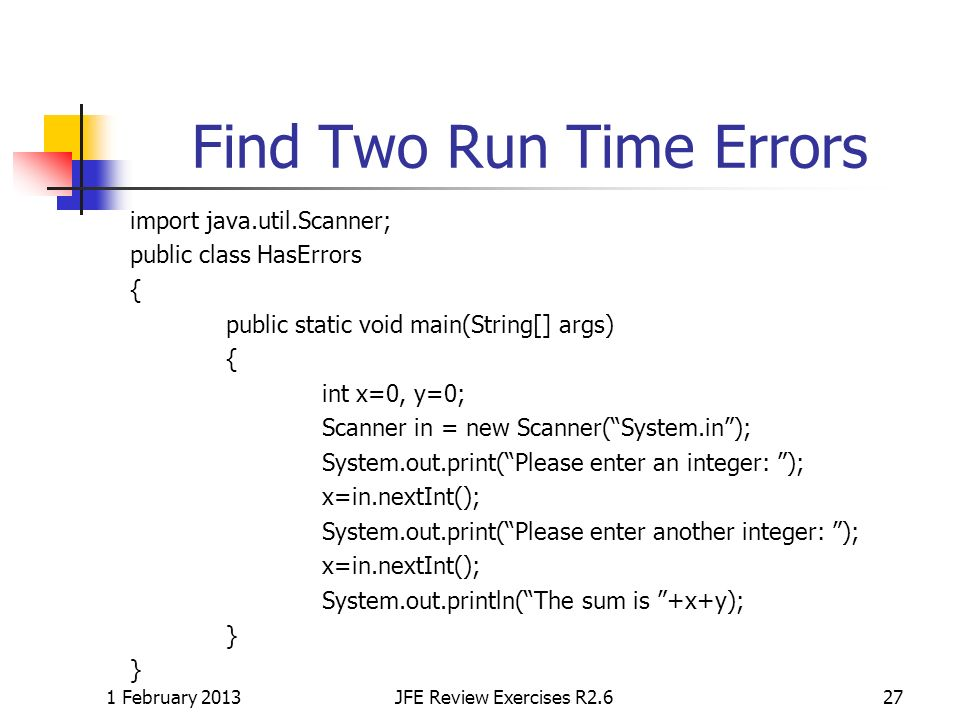 Find Two Run Time Errors