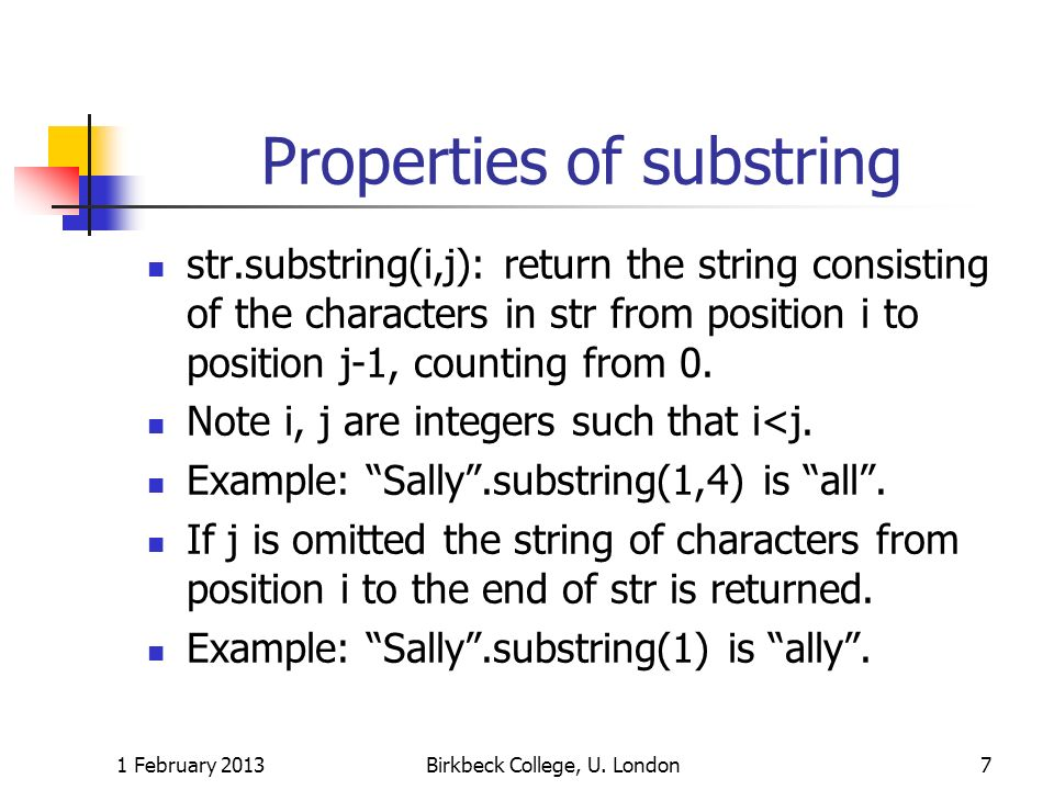 Properties of substring