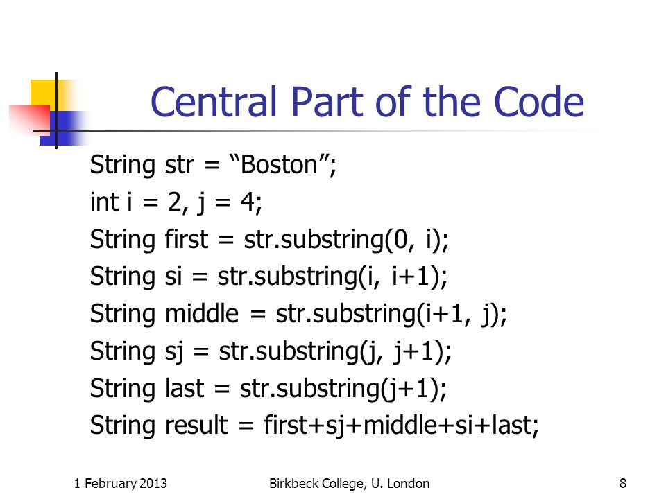 Central Part of the Code