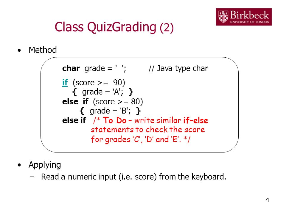 Class QuizGrading (2) Method Applying