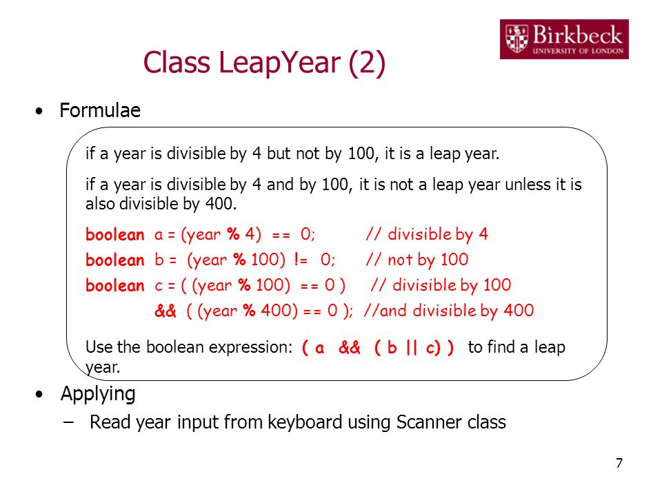 Class LeapYear (2) Formulae Applying