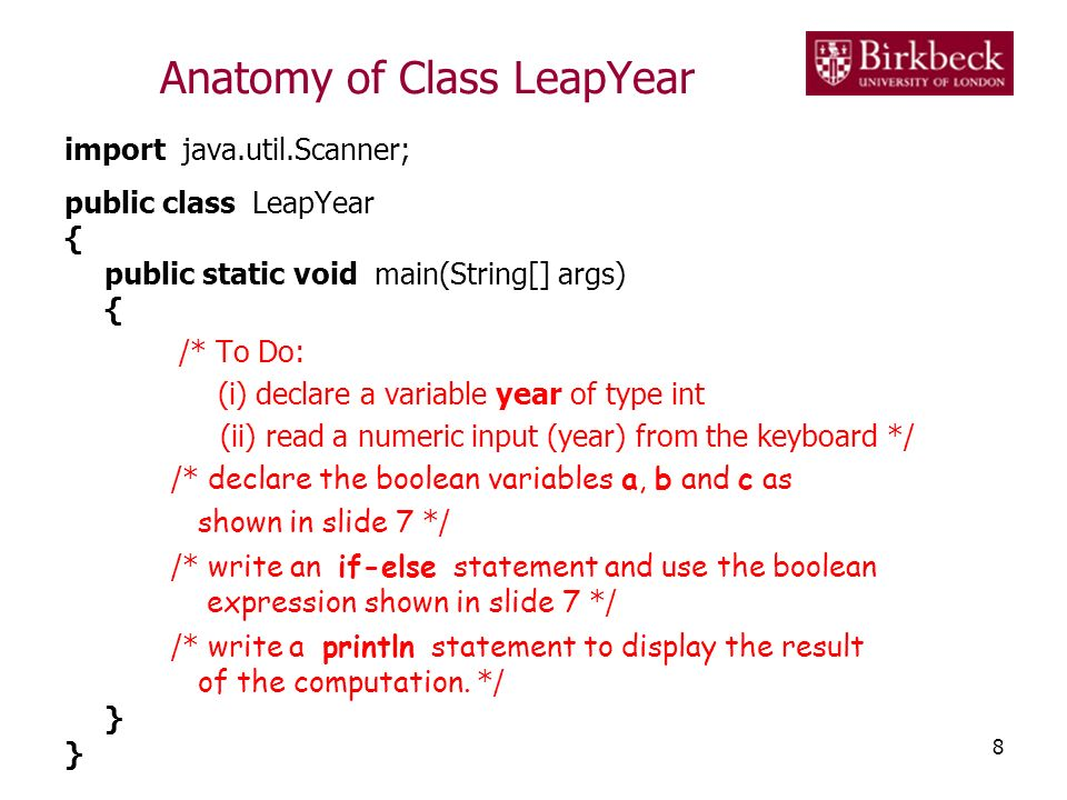 Anatomy of Class LeapYear