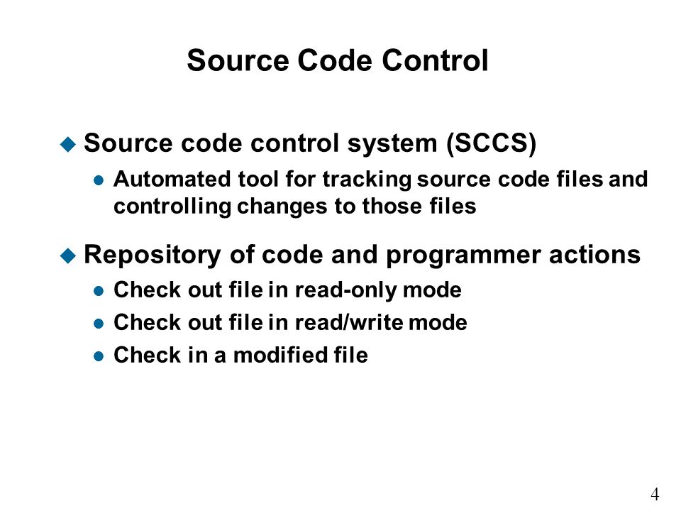 Source Code Control Source code control system (SCCS)