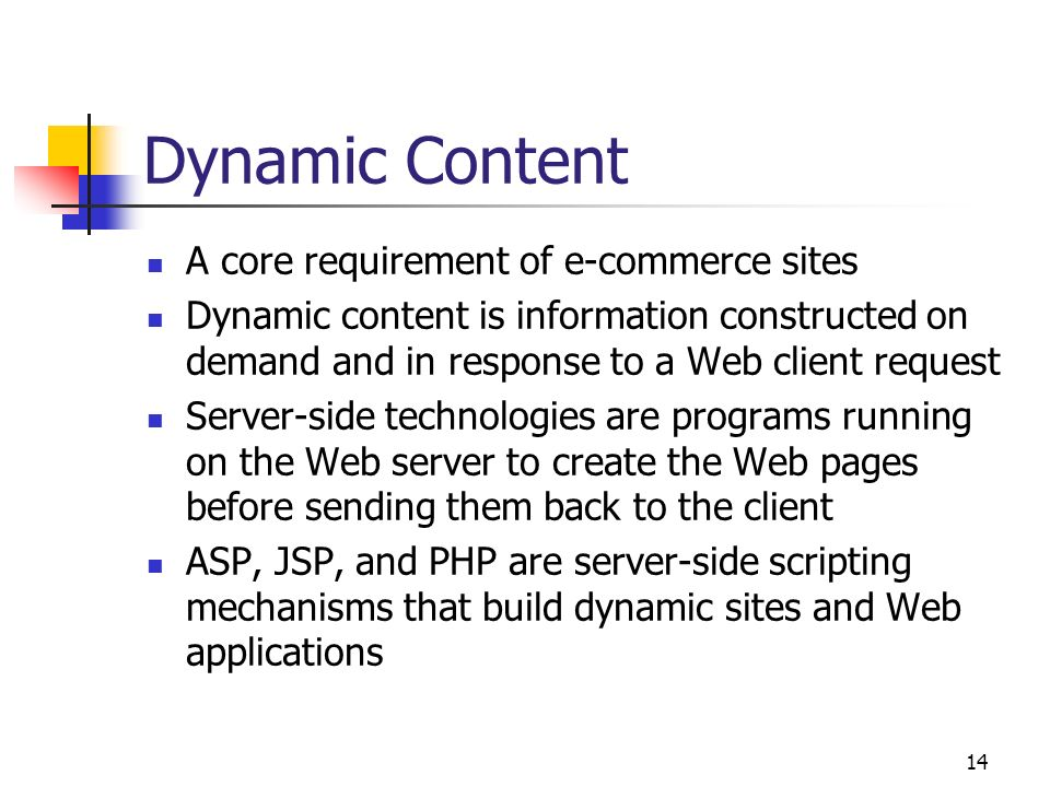 Dynamic Content A core requirement of e-commerce sites