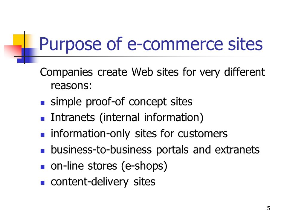 Purpose of e-commerce sites