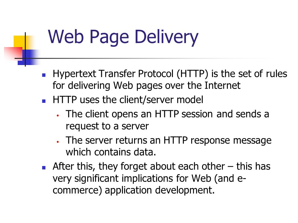 Web Page Delivery Hypertext Transfer Protocol (HTTP) is the set of rules for delivering Web pages over the Internet.