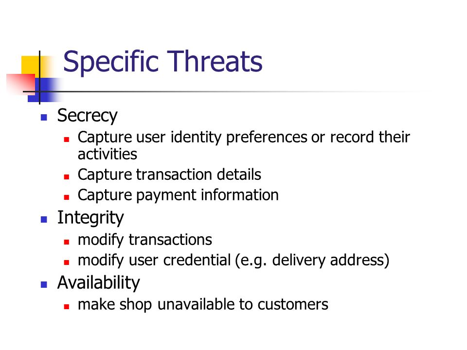 Specific Threats Secrecy Integrity Availability