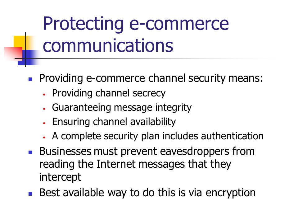 Protecting e-commerce communications