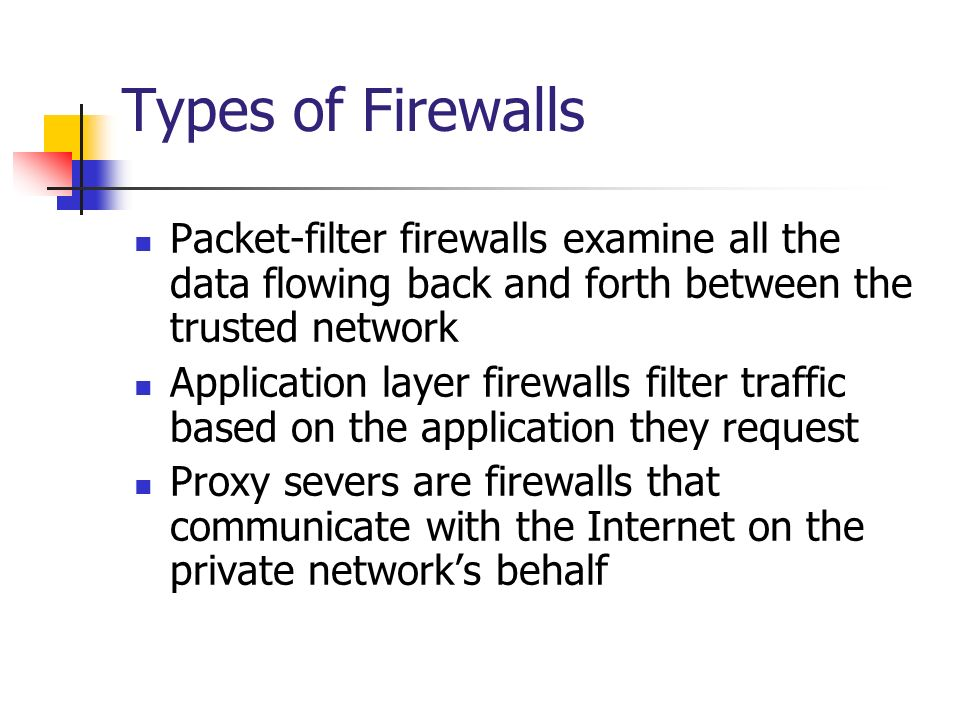 Types of Firewalls Packet-filter firewalls examine all the data flowing back and forth between the trusted network.