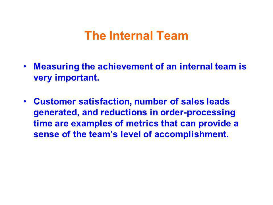 The Internal Team Measuring the achievement of an internal team is very important.