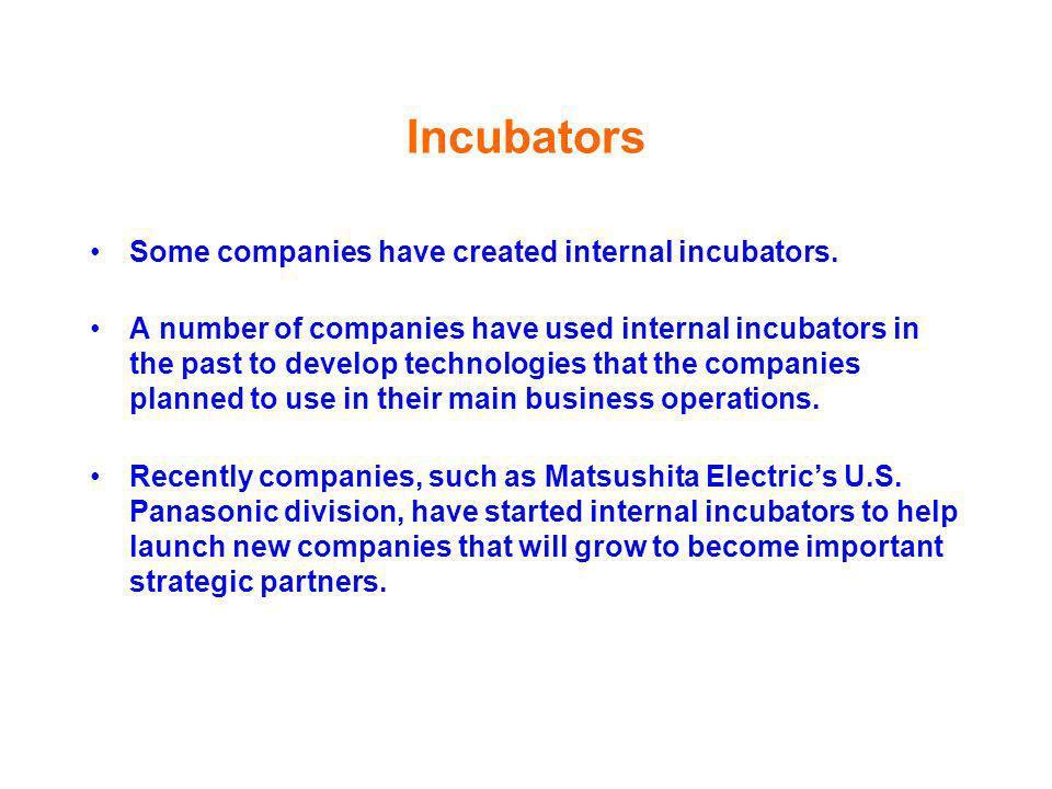 Incubators Some companies have created internal incubators.