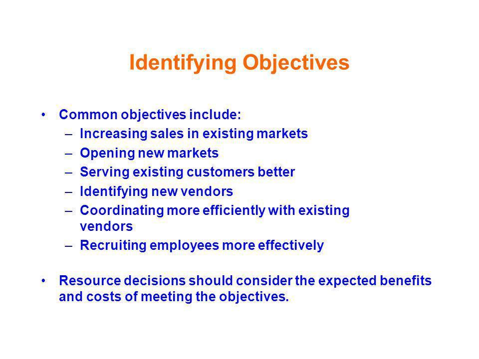 Identifying Objectives