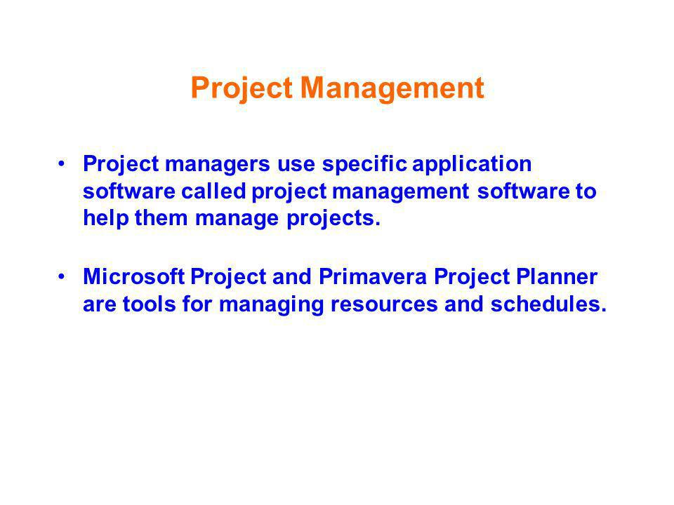 Project ManagementProject managers use specific application software called project management software to help them manage projects.