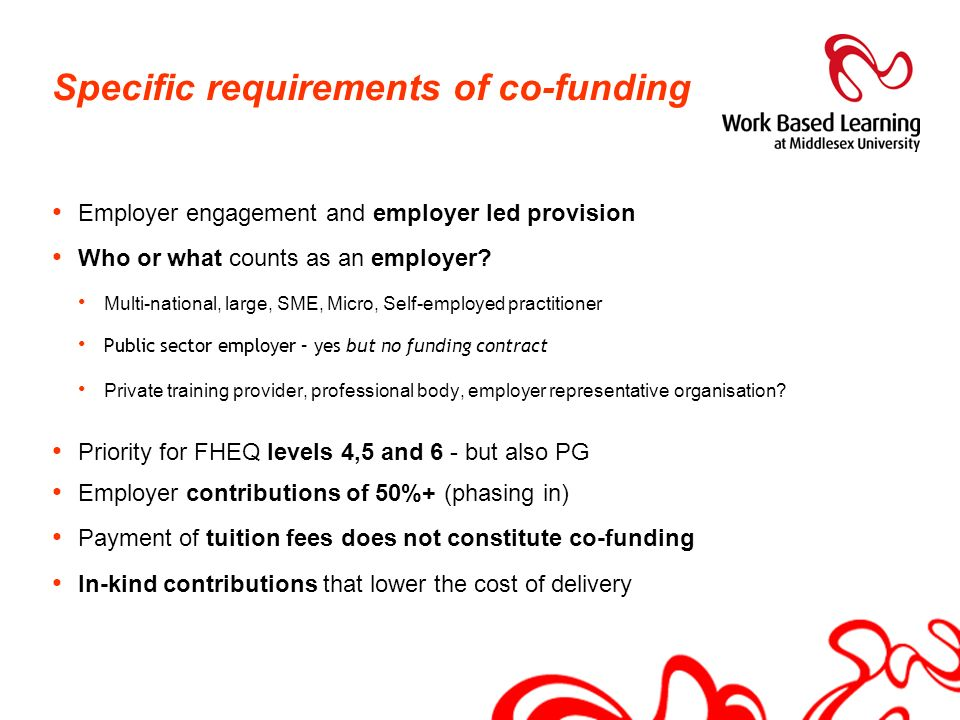 Specific requirements of co-funding