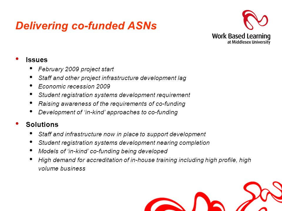 Delivering co-funded ASNs