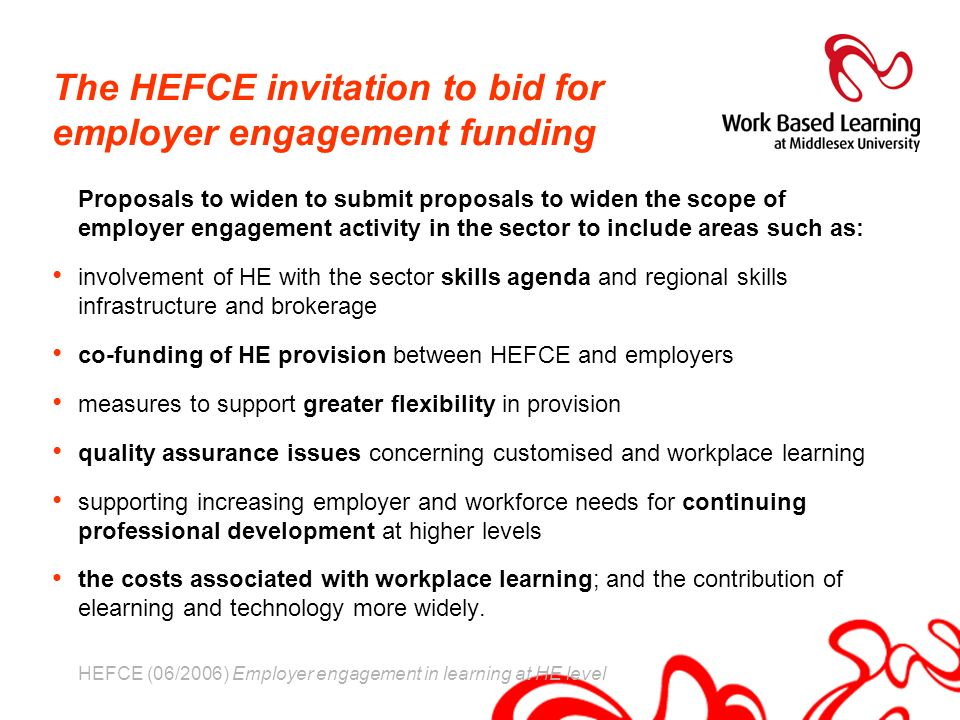 The HEFCE invitation to bid for employer engagement funding