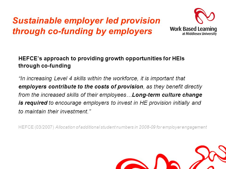 Sustainable employer led provision through co-funding by employers