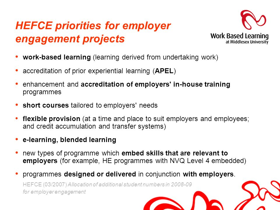 HEFCE priorities for employer engagement projects