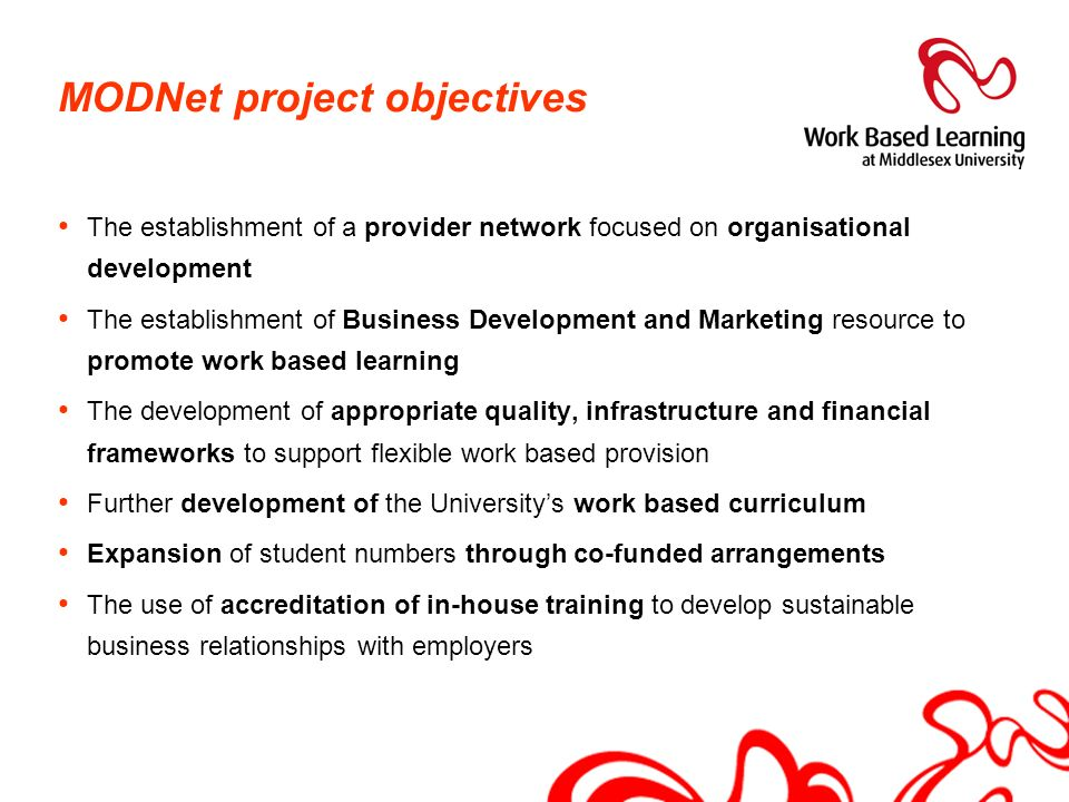 MODNet project objectives