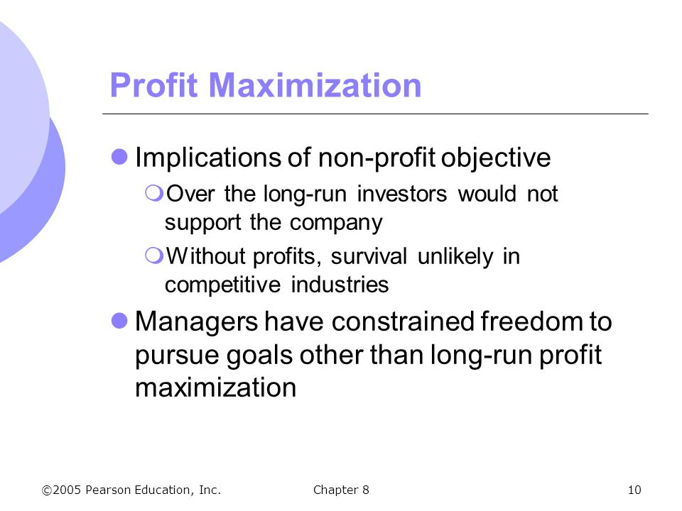 profit maximisation is the main objective of a firm In practice firms have been found to be pursuing objective other than profit maximisation large firms pursue such goals as sales maximisation, revenue maximisation, a target profit, retaining market share, building up the net worth of the firm, etc.