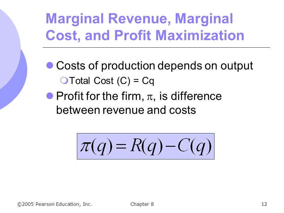 marginal analysis and profit maximization Self-test problems & solutions st21 profit given downward sloping demand and marginal revenue curves and positive marginal costs, the profit-maximizing price.