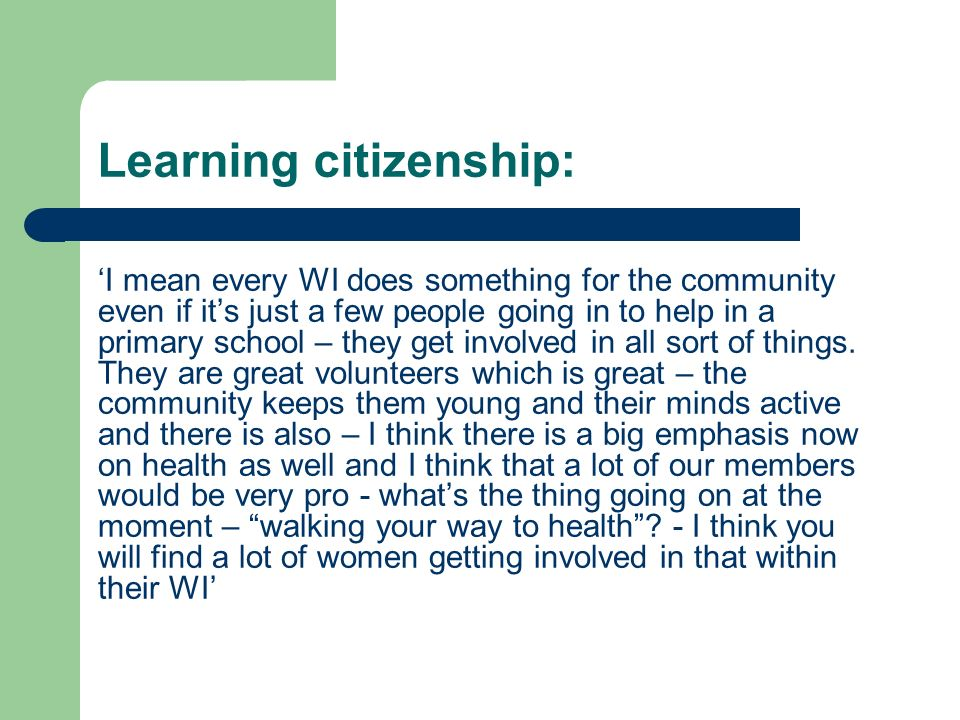 Learning citizenship: