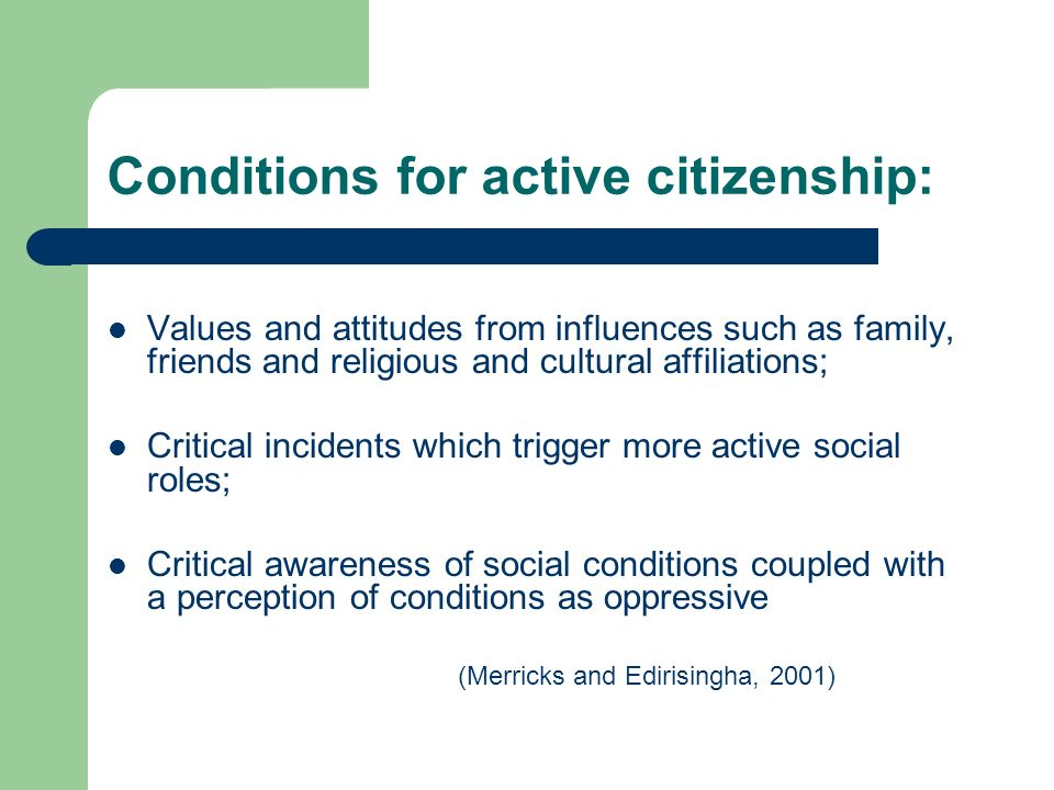 Conditions for active citizenship: