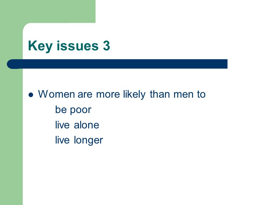 Key issues 3 Women are more likely than men to be poor live alone