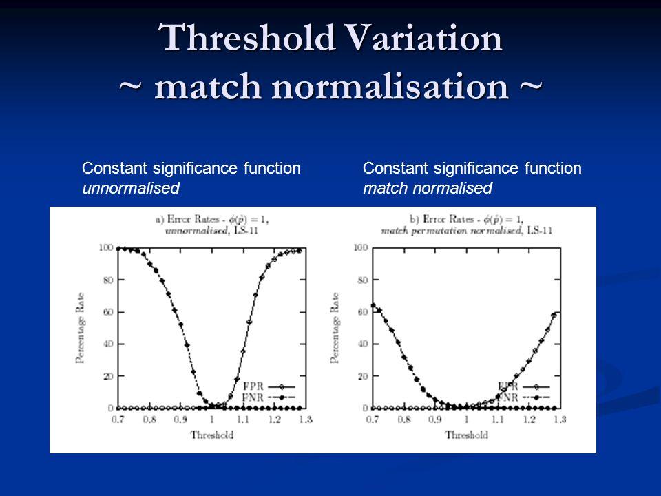 Threshold Variation ~ match normalisation ~