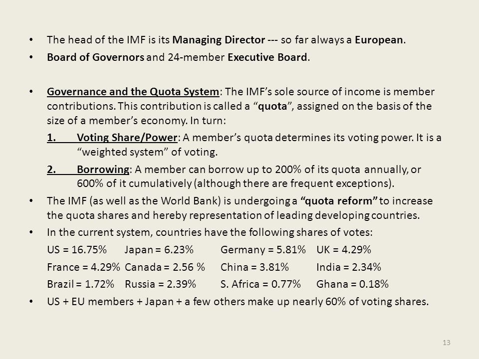 The head of the IMF is its Managing Director --- so far always a European.