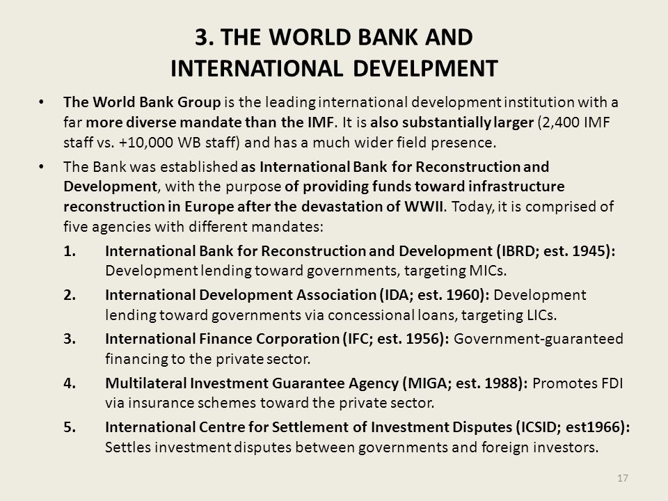 3. THE WORLD BANK AND INTERNATIONAL DEVELPMENT
