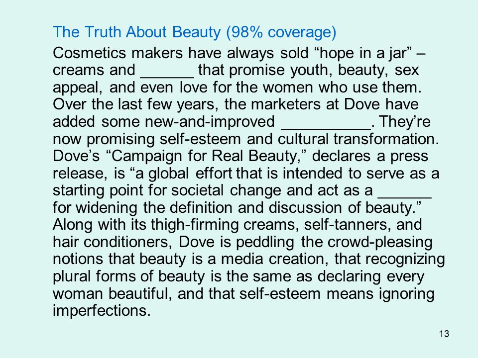 The Truth About Beauty (98% coverage)