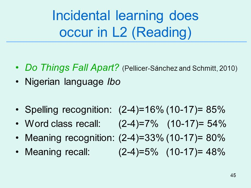 Incidental learning does occur in L2 (Reading)