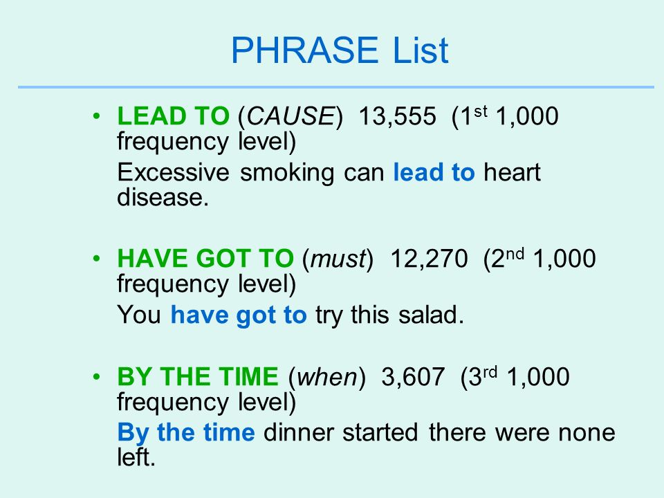 PHRASE List LEAD TO (CAUSE) 13,555 (1st 1,000 frequency level)