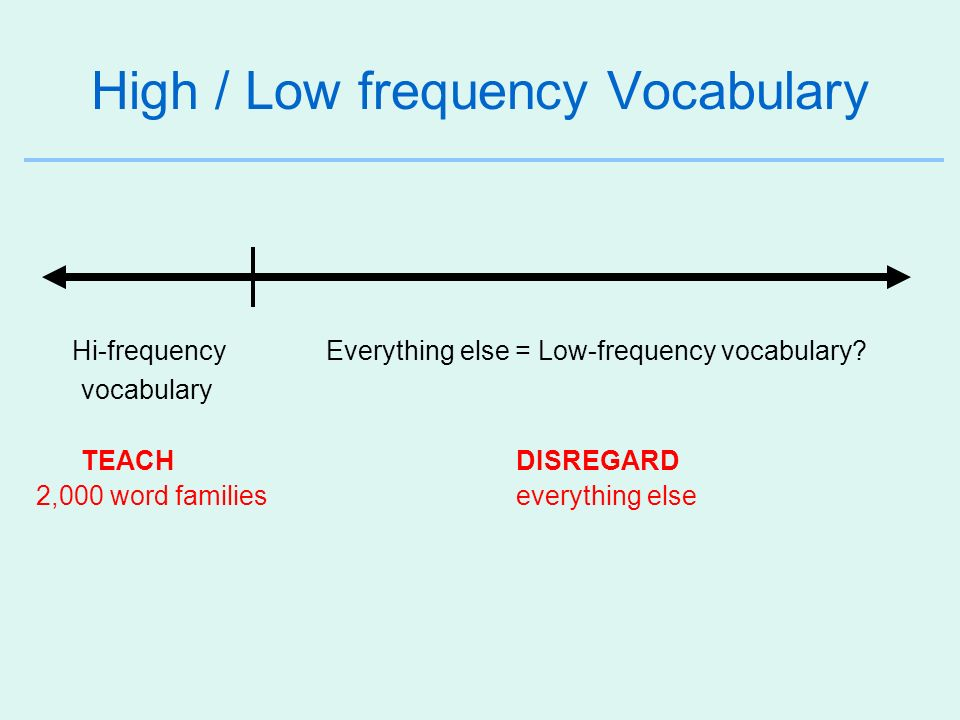 High / Low frequency Vocabulary